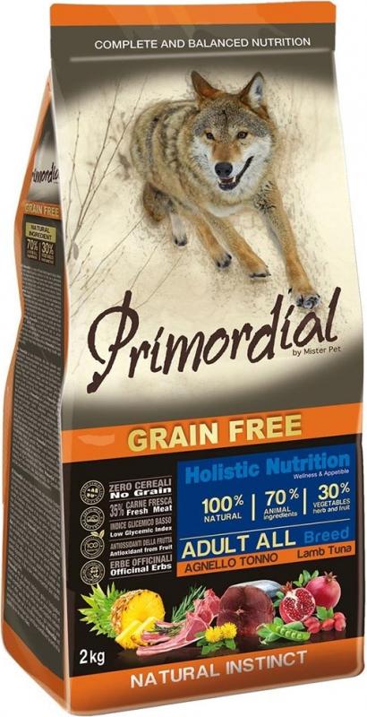 PRIMORDIAL Sans Céréales pour chien adulte au thon et à l'agneau