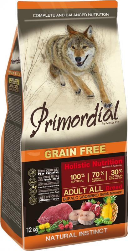 PRIMORDIAL Sans Céréales pour chien adulte au bison et au maquereau