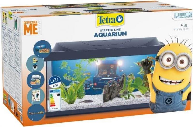 Aquarium Tetra StarterLine Edition Minion tout équipé 54L