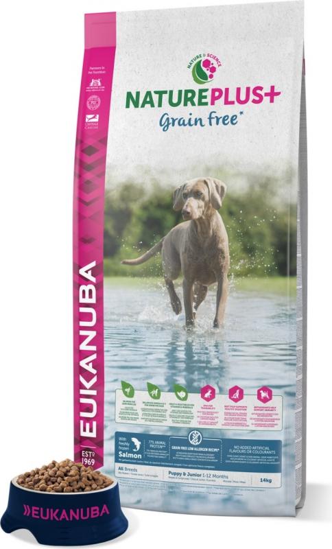 Eukanuba NaturePlus+ Grain Free Chiot & Junior au Saumon pour Chiot Sensible