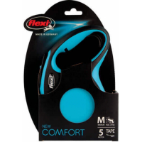 Laisse enrouleur Flexi New Comfort sangle bleu