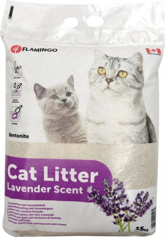 Litière agglomérante à la lavande pour chat 15kg