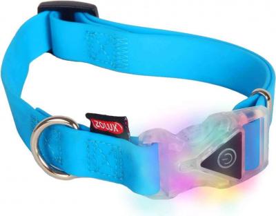 Collier lumineux réglable silicone bleu