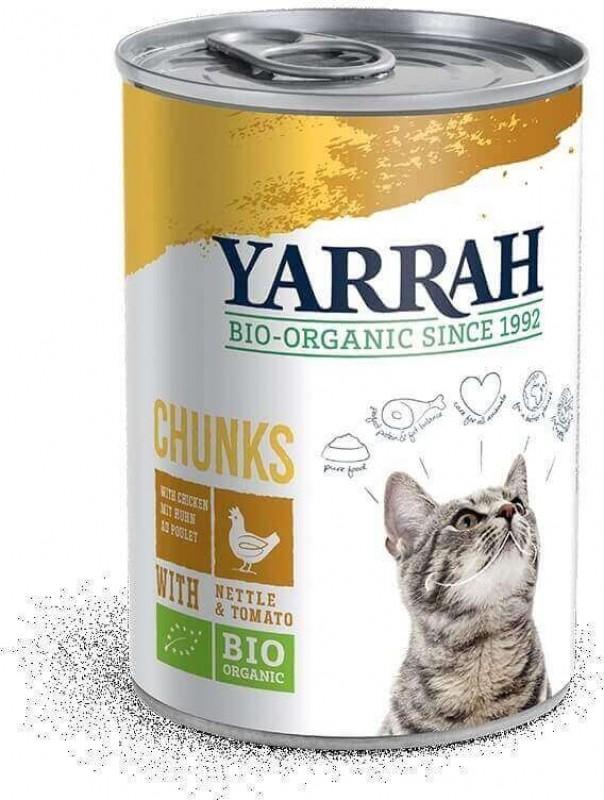 Pâtée en Bouchée Yarrah Bio 405g Sans Céréales pour Chat Adulte - 3 saveurs au choix