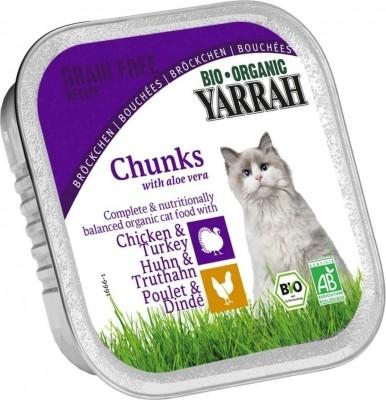 Yarrah bouchées bio sans céréales pour chat
