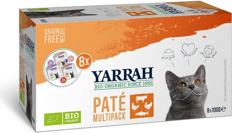 Pack de 8 Pâtées YARRAH Bio 100g Sans Céréales pour Chat Adulte