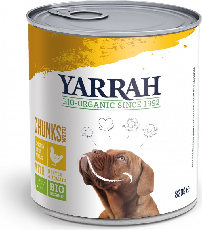 Pâtée en Bouchée Yarrah Bio 405g ou 820g Sans Céréales pour Chien Adulte - 2 saveurs au choix