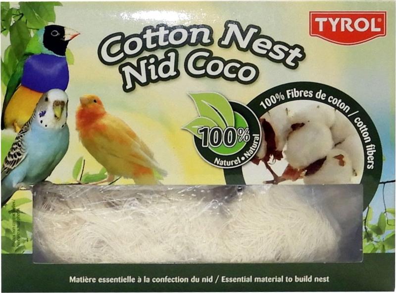 TYROL Nid en Fibres de Coton pour Oiseaux Domestiques. 100% coton. Coloris Blanc. 50G