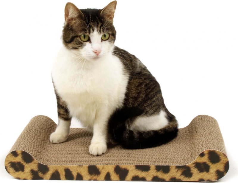 Griffoir en carton pour chat ZOLIA DOLCE + Herbe à chats incluse