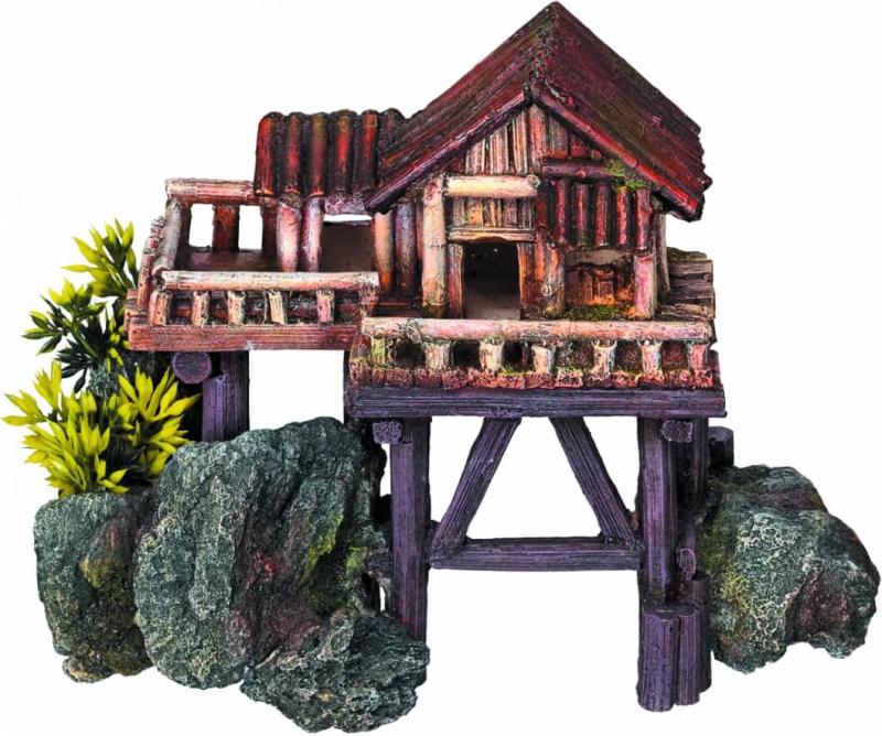 Decoración acuario casa de madera sobre pilotes