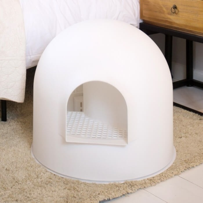 Weißes Toilettenhäuschen Iglus mit Schaufel