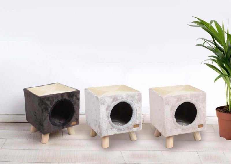 Petite arbre à chat sur pilotis avec griffoir - 35 cm - plusieurs coloris