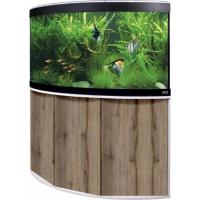 Aquarium et meuble d'angle Fluval Venezia LED 350L couleur Chêne et Blanc