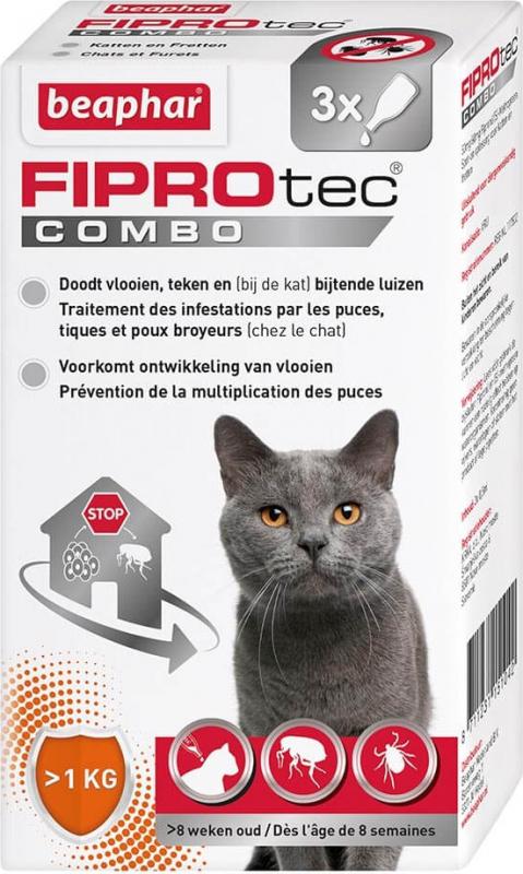 FIPROtec Combo, pipettes anti puces et anti tiques et poux broyeurs pour chat et furet