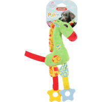 Jouet 1er âge pour chiot La girafe (peluche sonore et anneau à mâcher)