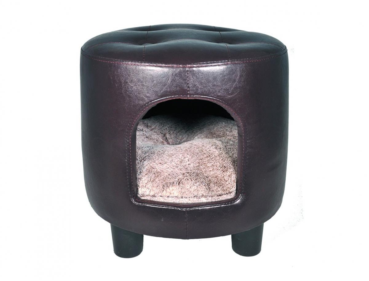 panier pouf similicuir gwen brun pour chat panier et. Black Bedroom Furniture Sets. Home Design Ideas