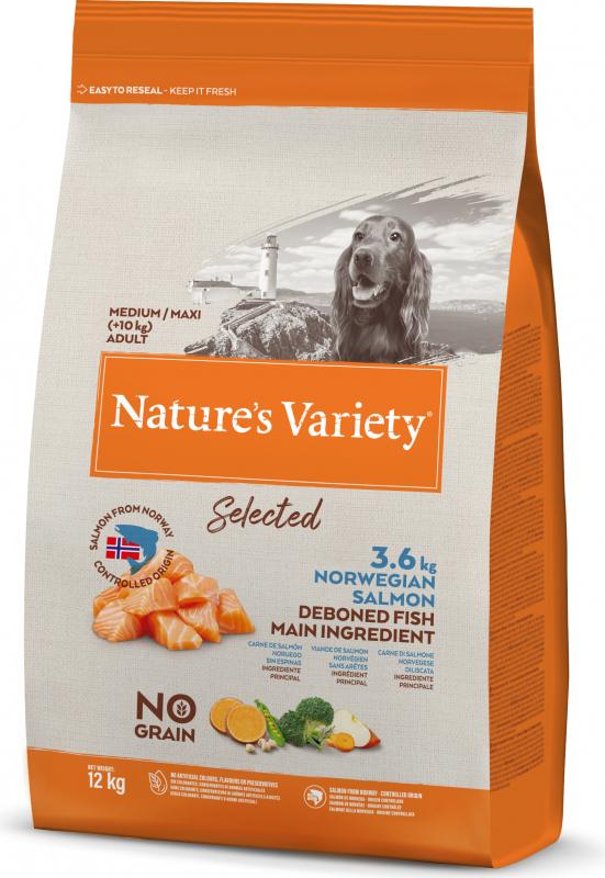 NATURE'S VARIETY Selected Chien Medium Maxi Adult au saumon de Norvège sans arêtes et sans céreales