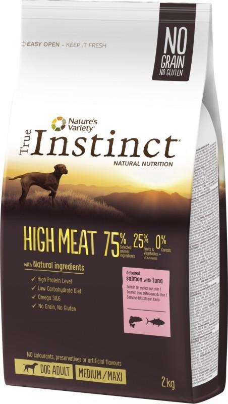 TRUE INSTINCT High Meat au saumon et thon pour chien adulte sans céréales