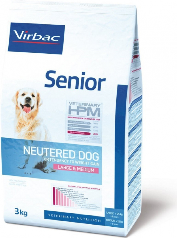 VIRBAC Veterinary HPM Neutered Large & Medium pour chien Senior stérilisé