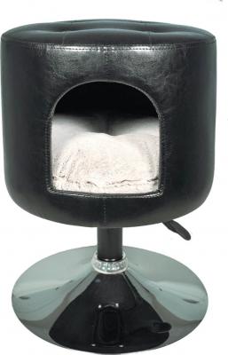 Pouf similicuir sur pied Gwen noir - 65cm