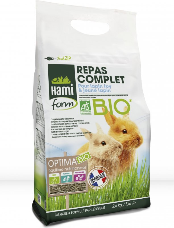 Hamiform Optima Bio Repas complet Jeune lapin et Lapin toy