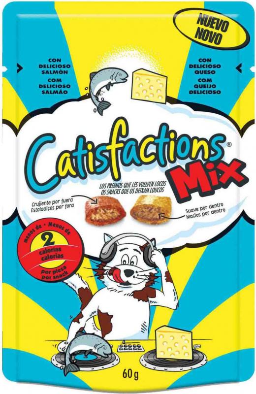 Friandises Catisfactions MIX Fromage et Saumon pour chat et chaton