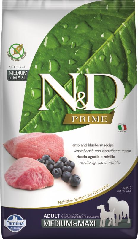 FARMINA N&D Prime Grain Free Agneau & Myrtilles pour chien adulte de taille moyenne/maxi 12kg