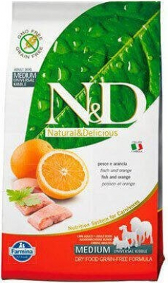 FARMINA N&D Grain Free Poisson & Orange pour chien adulte de taille medium/maxi