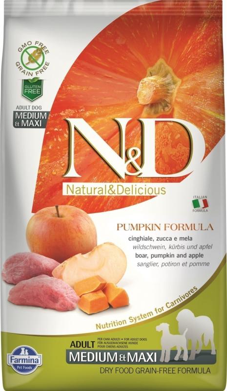 FARMINA N&D Grain Free Potiron Sanglier & Pommes pour chien adulte de moyenne et grande taille