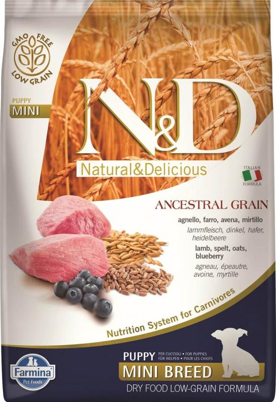 FARMINA N&D Low Grain CHIOT Agneau & Myrtilles pour chiot de petite taille