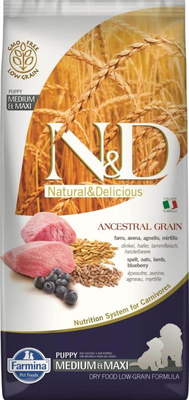 FARMINA N&D Ancestral Grain CHIOT Agneau & Myrtilles pour chiot de moyenne et grande taille