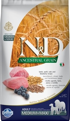 FARMINA N&D Ancestral Grain Agneau & Myrtilles pour chien adulte Medium/Maxi