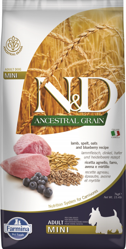 FARMINA N&D Ancestral Grain Agneau & Myrtilles pour chien adulte de petite taille