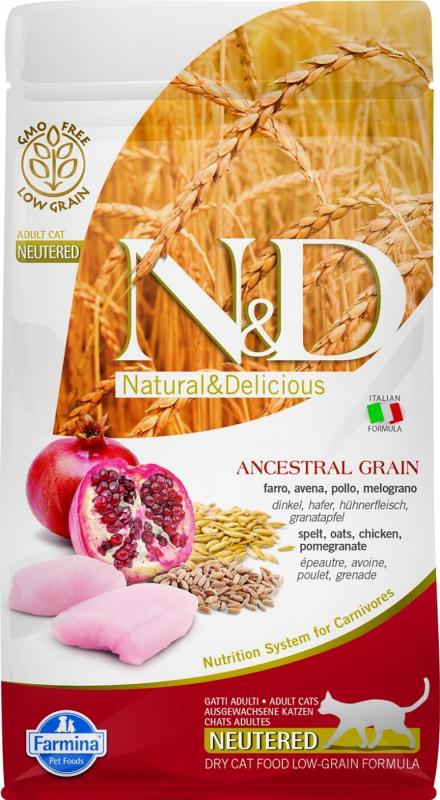 FARMINA N&D Low Grain Poulet & Grenade pour Chat Stérilisé