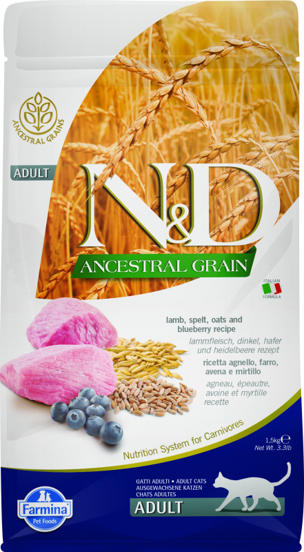 FARMINA N&D Ancestral Grain Agneau & Myrtilles pour Chat Adulte