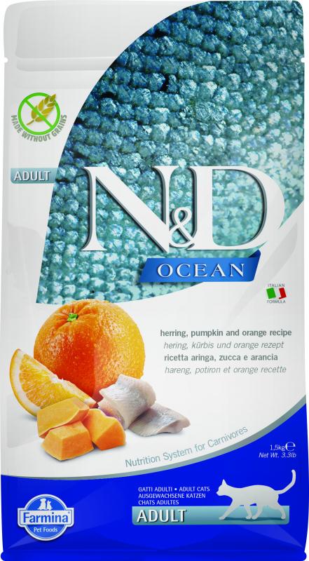 Farmina N&D Ocean Croquettes au Hareng, Citrouille et Orange pour Chat Adulte