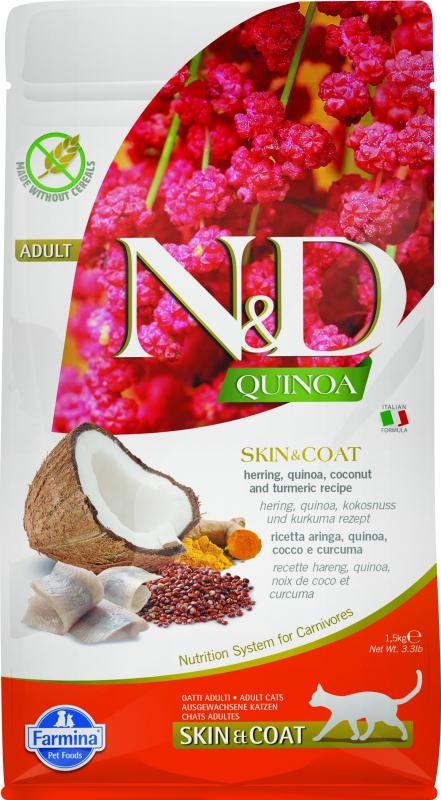 FARMINA N&D SKIN & COAT Hareng & Noix de Coco pour Chat Adulte