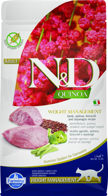 FARMINA N&D WEIGHT MANAGEMENT Quinoa Agneau & Brocolis pour Chat en Surpoids