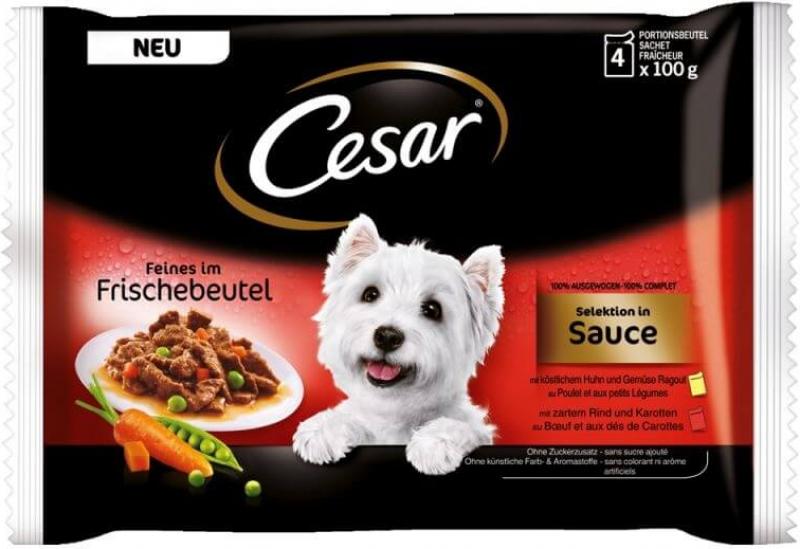 Pâtées CESAR Sélection en sauce (x4) pour chien adulte de petite taille