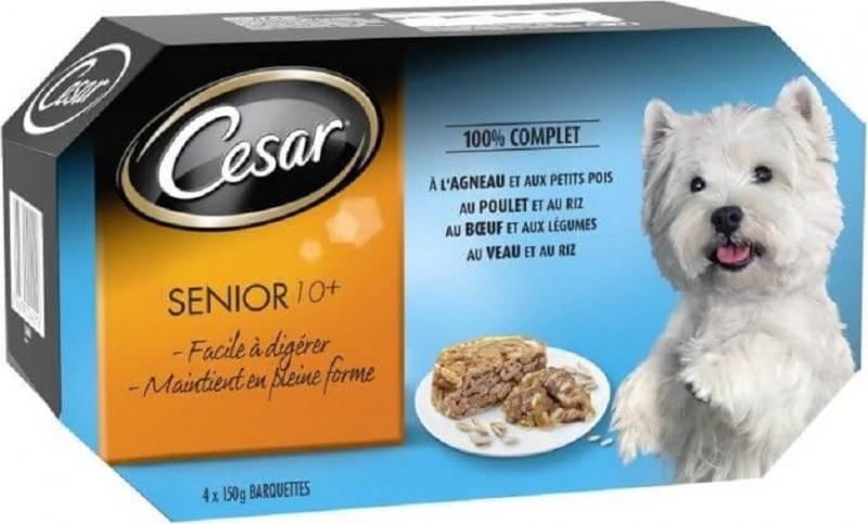 Pack de 4 pâtées CESAR Senior 10 + pour chien âgé - 4 saveurs
