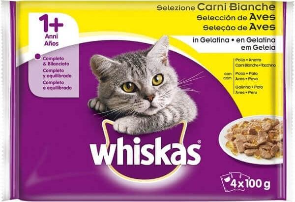 Pack de 4 Pâtées WHISKAS 1+ Sélection de Volaille en gelée pour Chat adulte - 4 saveurs