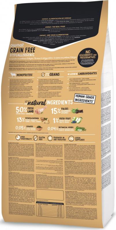 OWNAT Grain Free Hypoallergenic sans céréales à l'agneau pour chien adulte sensible