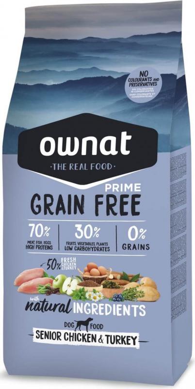 OWNAT PRIME Grain Free Senior sans céréales au poulet & dinde pour chien âgé