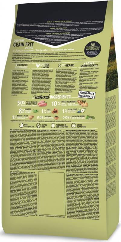 OWNAT PRIME Grain Free Adult senza cereali pollo & tacchino per gatti adulti
