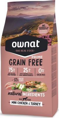 OWNAT PRIME Grain Free Adult Mini sans céréales au poulet & dinde pour petit chien adulte