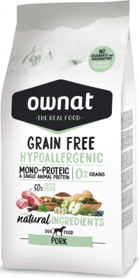 OWNAT Grain Free Hypoallergenic sans céréales au porc pour chien adulte sensible