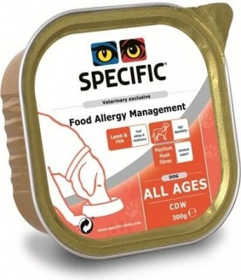 Pack de 6 pâtées SPECIFIC CDW Food Allergy Management 300g pour Chien Adulte Sensible