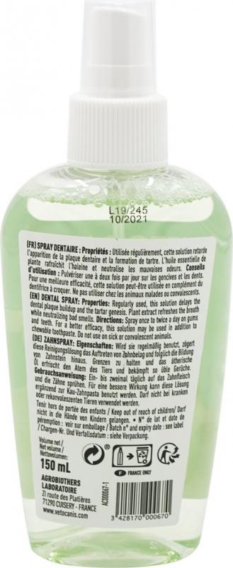 VETOCANIS Spray Dentaire Anti-Tartre, au Fluor pour Chien