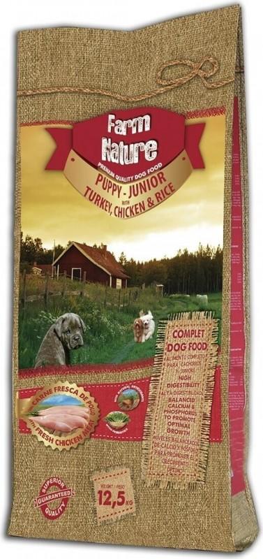 FARM NATURE Puppy & Junior Truthahn, Huhn & Reis für Welpen