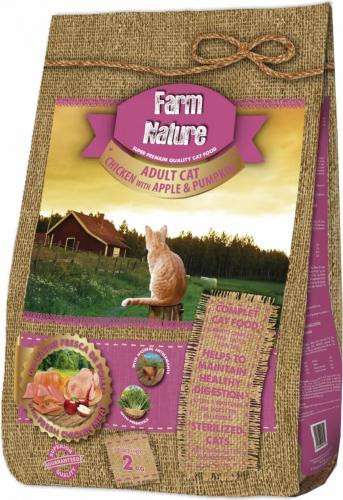 FARM NATURE Adult Cat Poulet, Pomme & Potiron pour Chat Adulte